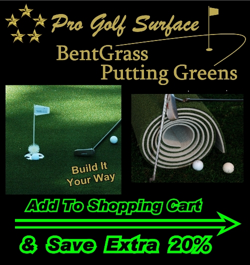 (1B) PRO BentGrass Putting Green Turf, w/ SureFlat NonSlip Impact Foam Backing (indoor/outdoor)