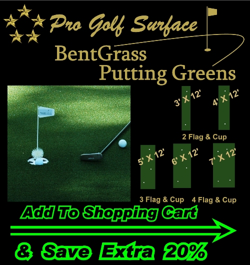 (1A) PRO BentGrass Portable Putting Greens w/ SureFlat NonSlip Impact Foam Backing (indoor/outdoor Rollout) ***FREE Shipping In U.S.A. (Call for HI & AK Extra Fee)***
