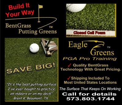 "0002-- 3/8"" Eagle BentGrass Portable Putting Green W/3mm closed cell foam"